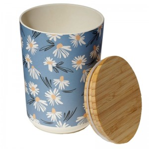 Dóza bambusová modrá s kvietkami margarétkami stredná Puckator 34661