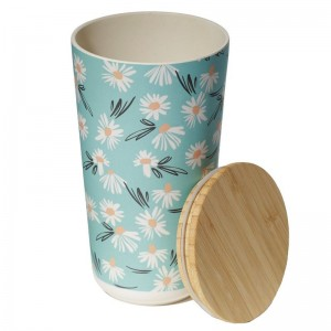 Dóza bambusová modrá s kvietkami margarétkami veľká Puckator 34662