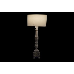 Drevená biela stolná lampa z mangového dreva s bielou patinou a tienidlom 35,5 x 35,5 x 82 cm 35365