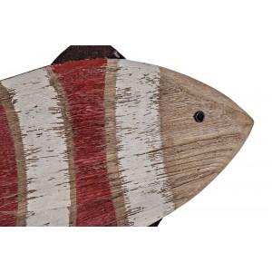 Drevená dekoratívna oranžovo-biela pásikovaná ryba na kovovej tyči na stojane 59 x 12,5 x 57 cm 35292