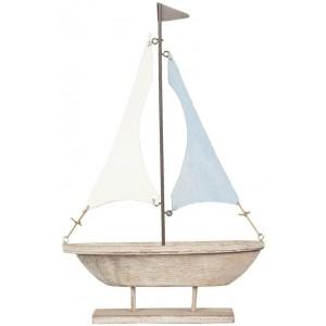 Drevená plachetnica s kovovými plachtami 17x5x27 cm Clayre-Eef 12510