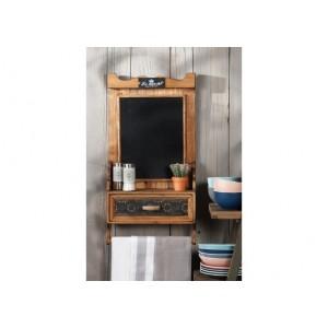 Drevená polička s čiernou tabuľou, šuflíkom a drevenou tyčkou 36x14x výška 70 cm 32889