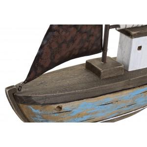 Drevená šedo-biela loď s kovovou plachtou a úchytmi 39 x 8,5 x 46 cm 35291