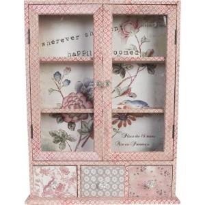 Drevená skrinka potiahnutá bavlnenou látkou v ružových odtieňoch presklená s troma šuflíkmi 59 x 13 x 72 cm Clayre-Eef 17232