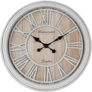 Drevené hnedo-biele nástenné hodiny vo vidieckom štýle s rímskymi číslicami 35113
