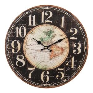 Drevené hnedo-čierne nástenné hodiny vo vidieckom štýle s mapou sveta Ø 34*1 cm Clayre & Eef 35017