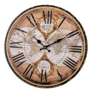 Drevené hnedo-zlaté nástenné hodiny vo vintage štýle s mapou sveta Ø 34*1 cm Clayre & Eef 35016