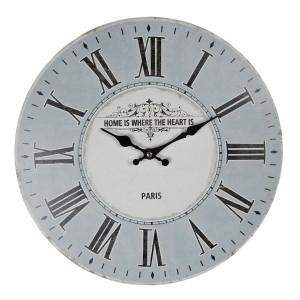 Drevené modro-biele nástenné hodiny vo vidieckom štýle s rímskymi číslicami Ø 34*4 cm Clayre & Eef 35002