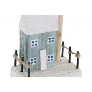 Drevený bielo-modrý domček ako dekorácia s loďkou 11,5 x 11,5 x 25,5 cm 35294