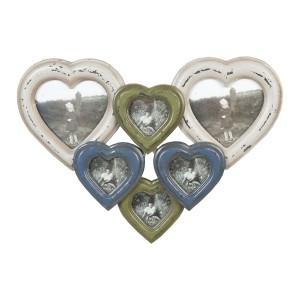 Drevený fotorám v tvare veľkého srdca pozostávajúci zo šiestich fotorámov 36x25x3 cm Clayre-Eef 12886