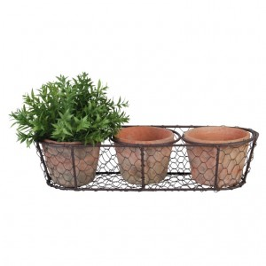 Drôtený košík s troma keramickými kvetináčmi 37,2cm Esschert design