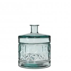 Fľaša sklenená s dekorom priesvitná 34143