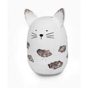 Mačka biela drevená 11x17cm 25683