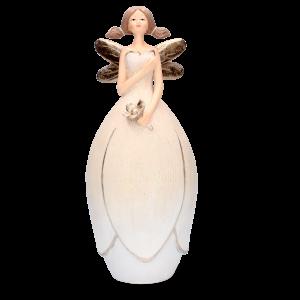 Anjel s krídlami a s kvetmi z polyresinu 33931