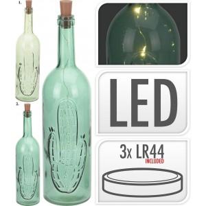 Fľaša sklo 6xLED  zelená 26253