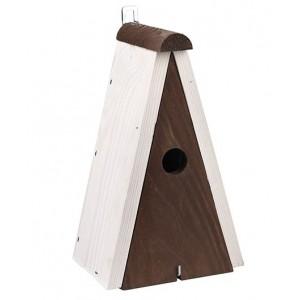 Hnedá drevená vtáčia búdka s bielou strieškou a háčikom 34895