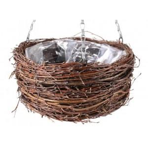 Hnedý okrúhli prútený košík z brezy na kvety s reťazou na zavesenie 34536