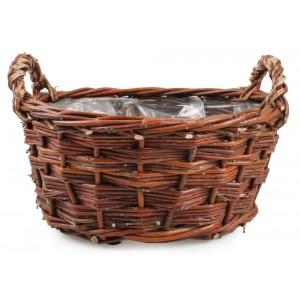 Hnedý prútený košík s rúčkami na kvety 34540