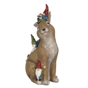 Hnedý zajac z polyresinu s trpaslíkmi výška 30 cm Clayre-Eef 32246
