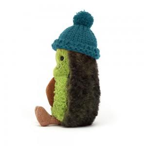 Huňaté plyšové avokádo so zimnou zeleno-modrou čiapočkou Jellycat Amuseable Cozi Avocado Teal 15 cm 35372