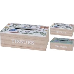 Box na servítky drevený, kvietkovaný 29667
