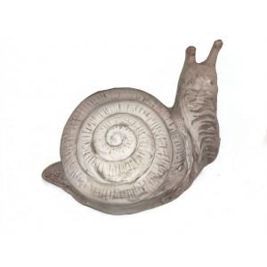 Terakotová záhradná dekorácia slimáka v sivej farbe 37 cm 34992