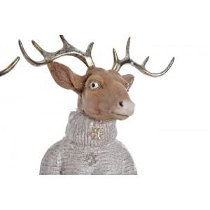 Jeleň z polyrezinu v zimnom prevedení s lampášom, alebo balíčkom 58 cm 32706