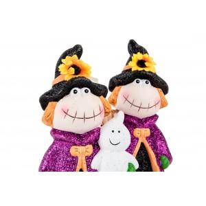 Keramická ježibaba vo fialovom kabáte a klobúku s metlou alebo duchom 10,5 x 9 x 19 cm 35281