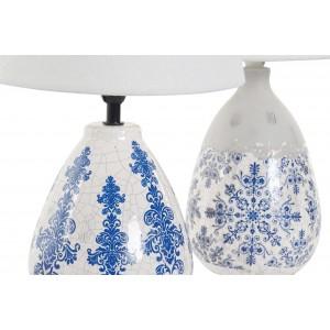 Keramická stolná lampa s modrým dekorom a s bielym tienidlom 24x24x40 cm 32812