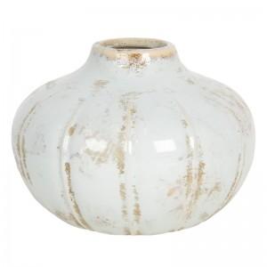 Keramická váza pretieraná biela s obitým vzhľadom Clayre & Eef 34546