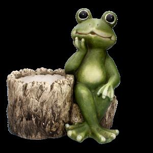 Keramická žaba sediaca s podopretou hlavou na keramickom hnedo béžovom kvetináči 34x19x31 cm 33530