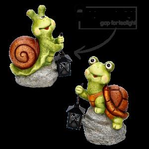 Keramická záhradná dekorácia - slimák alebo korytnačka sediaci na kameni s kovovým lampášom na čajovú sviečku 24x24x33 cm 33549