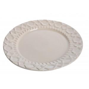 Keramický tanier krémovej farby s elegantným dekorom 39 x 4 cm 35499