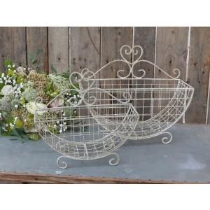 Košík kovový s obitým vzhľadom v krémovej farbe Chic Antique 34806