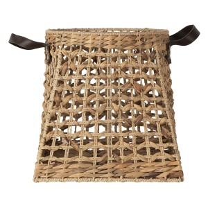 Košík prútený z morskej trávy s koženými rúčkami vo vidieckom vintage štýle značky Clayre & Eef 34738