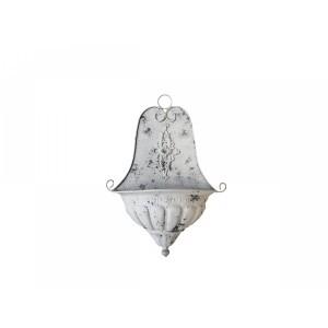 Kovová dekorácia na stenu v tvare umývadla v krémovej patine vo vintage štýle 54x41x17 cm Chic Antique 33747