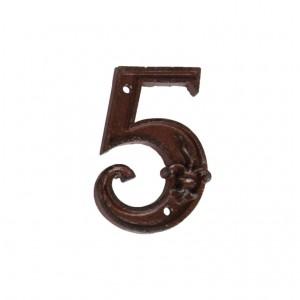 Kovové číslo 5 na dom 8,1x1,1x11,6 cm Esschert design