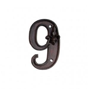 Kovové číslo 9 na dom 7,7x1,1x12 cm Esschert design