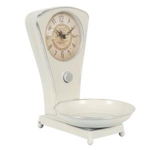 Kovové stolové hodiny v bielej farbe vo vintage štýle pripomínajúce váhy Clayre & Eef 35030