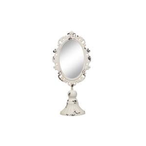 Kovové vyrezávané krémové patinované zrkadlo na stojane 60x14x9 cm Chic Antique 33743