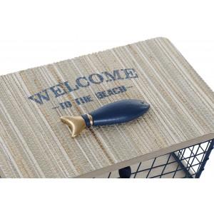 Kovovo-drevená dóza uzatvárateľná s rybou, nápisom a strapcom 20,5 x 11,5 x 11 cm 35282