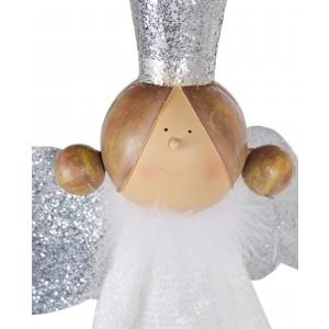 Kovový biely anjel so striebornou korunkou a krídlami a s textilnými šatôčkami 42,5 x 25 x 84 cm 35533