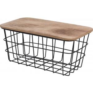 Kovový čierny košík s dreveným poklopom 34279