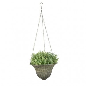 Kovový závesný kvetináč zelená patina 25,5 cm Esschert design