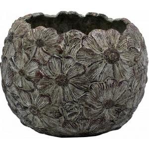Kvetináč z cementu s kvietkovaným efektom sivohnedý 21 cm 34506