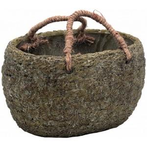 Kvetináč z cementu s ľanovou rúčkou vo vzhľade ratanového košíka sivohnedý 20 cm 34503