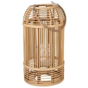 Lampáš prútený bambusový v prírodnej farbe s ľanovým uškom 34922