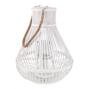 Lampáš prútený biely v tvare hrušky s ľanovou šnúrkou 34918