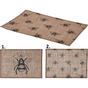 Ľanové prestieranie s motívom včely v dvoch prevedeniach 45 x 28 cm 35088
