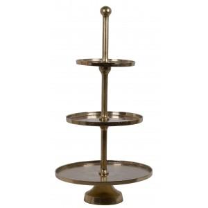 Luxusne vyzerajúci trojposchodový kovový zlatý stojan ako etažér 100 cm 35519